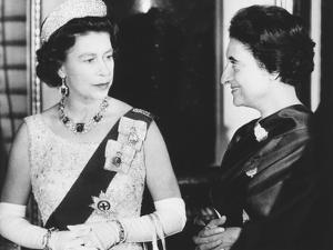 Queen Elizabeth with Indian Prime Minister Indira Gandhi at Buckingham Palace