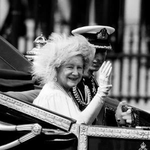 Queen Mother with Prince Charles Waving as They Ride in the Royal Carriage c.1985