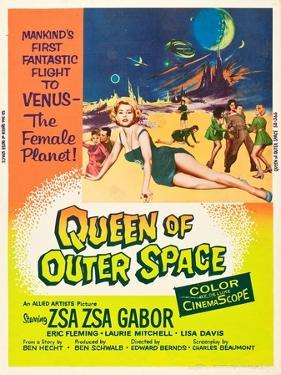 QUEEN OF OUTER SPACE, foreground: Zsa Zsa Gabor on poster art, 1958
