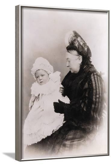 Queen Victoria and Prince Alexander Albert as Baby--Framed Photographic Print