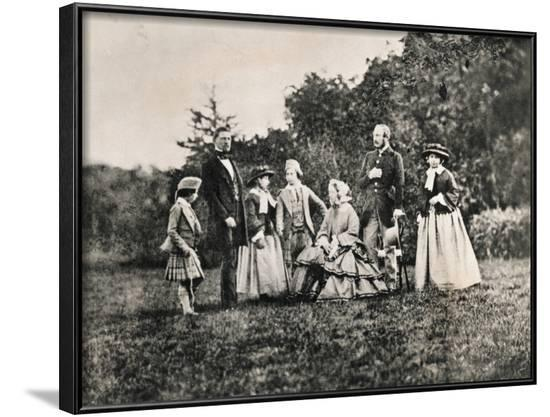 Queen Victoria with Husband Prince Albert and Children Outdoors--Framed Photographic Print