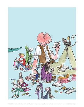 Roald Dahl Characters Reading by Quentin Blake