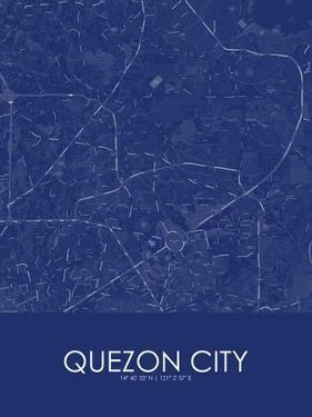 Quezon City, Philippines Blue Map