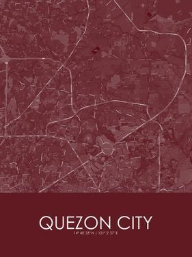 Quezon City, Philippines Red Map