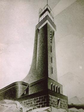 Drawing by the Architect Quirino De Giorgio of a Project for a Stone Lighthouse by Quirino De Giorgio