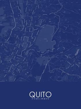 Quito, Ecuador Blue Map