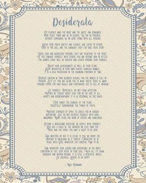 Desiderata Floral Frame Beige by Quote Master