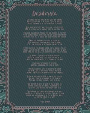Desiderata Floral Frame Turquoise by Quote Master