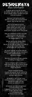 Desiderata In Black by Quote Master