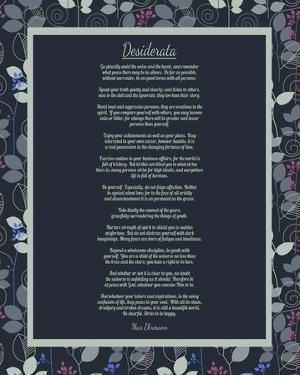 Desiderata Leaf Pattern Frame Dark by Quote Master