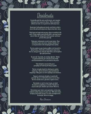 Desiderata Leaf Pattern Frame Dark by Quote Master