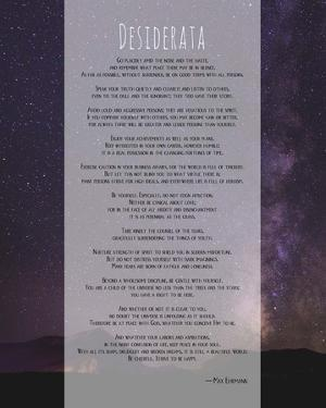 Desiderata Night Sky by Quote Master