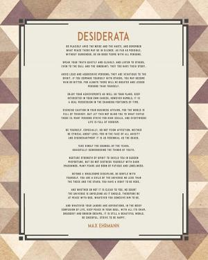 Desiderata Triangle Pattern Frame Beige by Quote Master