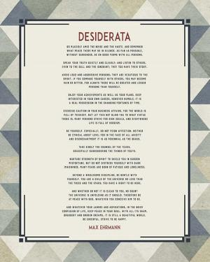 Desiderata Triangle Pattern Frame Blue by Quote Master