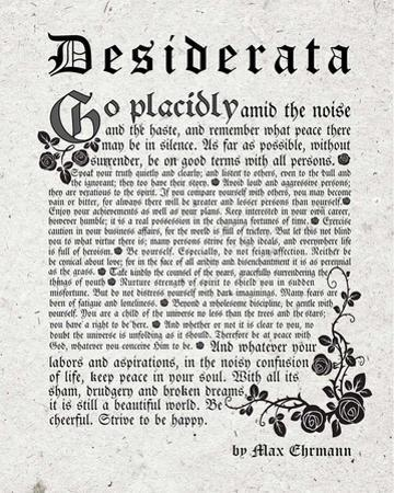Old English Desiderata In Gray by Quote Master