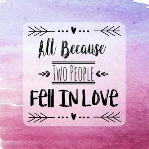 Two People Fell in Love Magenta Ombre by Quote Master