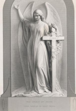 The Spirit of Faith, an Angel Stands by a Cross and Indicates the General Direction of Heaven