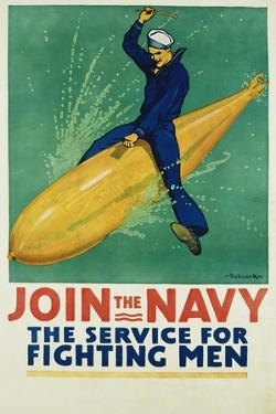 Join the Navy - the Service for Fighting Men Poster by R.F. Babcock