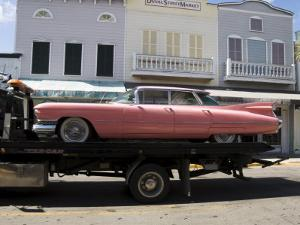 Pink Cadillac Being Transported, Duval Street, Key West, Florida, USA by R H Productions