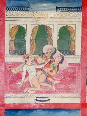 Scenes from the Kama Sutra from Cupboard in the Juna Mahal Fort, Dungarpur, Rajasthan State, India by R H Productions