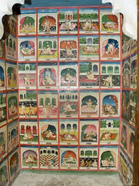 Scenes from the Kama Sutra in a Cupboard in the Juna Mahal Fort, Dungarpur, Rajasthan State, India by R H Productions