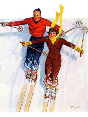 """Couple Downhill Skiing,""January 1, 1937 by R.J. Cavaliere"