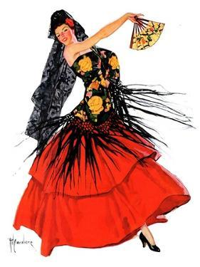 """Flamenco Dancer in Red,""March 14, 1936 by R.J. Cavaliere"