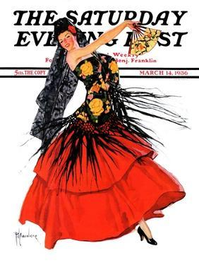"""""""Flamenco Dancer in Red,"""" Saturday Evening Post Cover, March 14, 1936 by R.J. Cavaliere"""