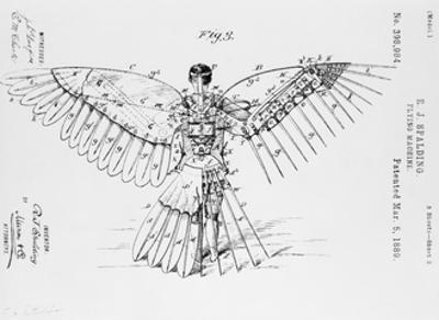 Patent Drawing of Flying Machine by R.J. Spalding