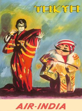 Tokyo, Japan - Kabuki Actor (Yaro-Kabuki) and Indian Maharaja - Air India International by R.M. Kharat