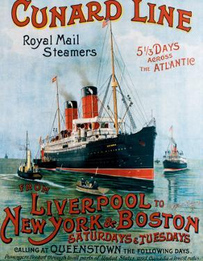 Cunard Line, Liverpool to New York by R.m Neville Cumming