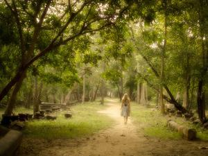 Young Woman Walking on Path into Enchanted Forest by R.M. Nunes