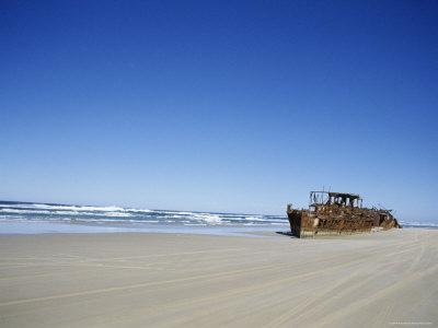Boat Wreck on the Beach, Fraser Island, Queensland, Australia