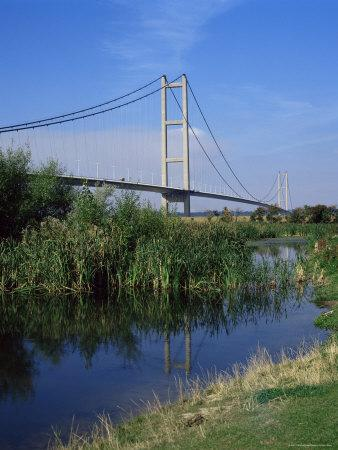 Humber Bridge from the South Bank, Yorkshire, England, United Kingdom