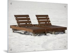 Wooden Lounge Chairs on the Beach in Alabama by R.S.