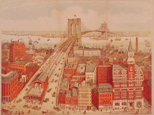Brooklyn Bridge, circa 1883 by R. Schwarz