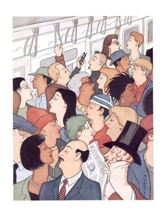 Subway riders all resemble Eustace Tilley - New Yorker Cartoon