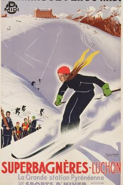 Poster Advertising Skiing Holidays in Superbagneres-Luchon, 1932 by R. Sonderer