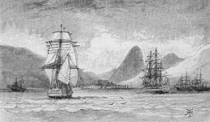 "Hms ""Beagle"" the Ship in Which Charles Darwin Sailed Approaching Mauritius by R.t. Pritchett"