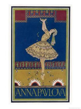 Anna Pavlova Russian Ballet Dancer on Stage in 1912 by R. Vaughan