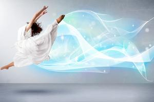Cute Teenager Jumping with Abstract Blue Scarf around Her by ra2 studio
