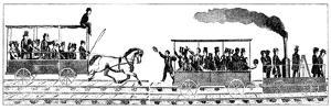 Race Between Peter Cooper's Locomotive 'Tom Thumb' and a Horse-Drawn Railway Carriage, 1829