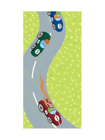 Race Car Drivers on Winding Road