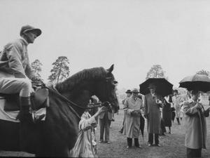"Race Horse Owner Marcel Boussac, at Chantilly Race Track with His Horse ""Cordova"""