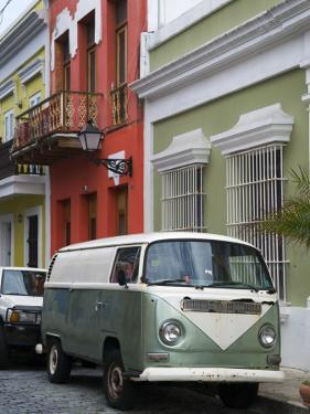 Old Volkswagen Combi Outside Colourful Colonial Houses in Old San Juan by Rachel Lewis