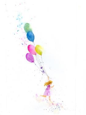 Girl Running With Balloons by Rachel McNaughton