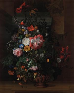 Flowers in an Urn on a Stone Ledge by Rachel Ruysch