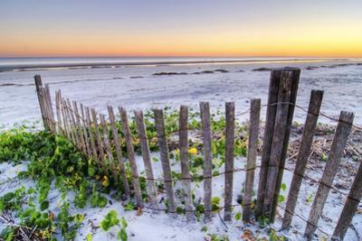 A Beach Fence at Sunset on Hilton Head Island, South Carolina.