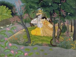 Radha and Krishna Embrace in a Grove of Flowering Trees, c.1780