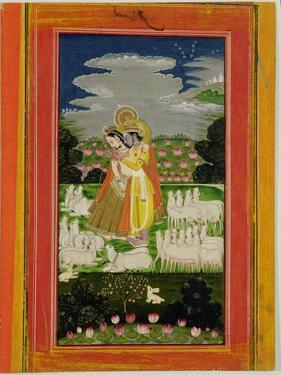 Radha and Krishna Embrace in an Idealised Landscape with Cows, circa 1780